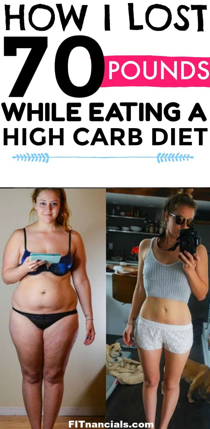 Find out what I did to lose over 70 pounds with a high carb diet. #highcarbhannah #weightloss #loseweight